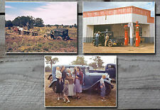 Car stuck in mud truck gas pumps Pie Town New Mexico NM 1940 - color photos lot