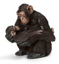 Schleich 14679 Chimpanzee Female with Baby Toy Animal Figurine - NIP