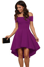 New Stunning Purple Off shoulder Skater Dress Size 8 10 12 14 16 18 20 UK