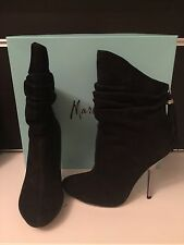 Guess By Marciano Black Suede Ankle Boot Heel Shoe w Swarovski Crystal Size 8