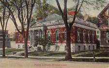 Antique POSTCARD c1907-20 Public Library BRISTOL, CT Unused 16625