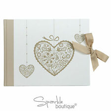 LUXURY wedding guest book-IVORY & GOLD Theme-BELLISSIMO VINTAGE CUORE DESIGN