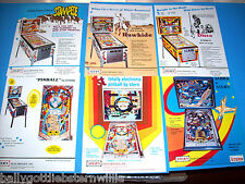 Lot Of (6) ORIGINAL STERN PINBALL MACHINE FLYERS STAMPEDE STARS DISCO set  #37