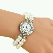 Silver Case Pearl Elastic Band Women Watch Leather Band Analog Quartz Dial Wrist