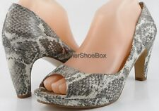 NINE WEST SHIPSHAPE Grey White Snake Printed Designer Open Toe Platform Pumps 8