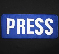 PRESS REPORTER WHITE BLUE UNIFORM EMBROIDERED TACTICAL PATCH PANEL HOOK 6X3