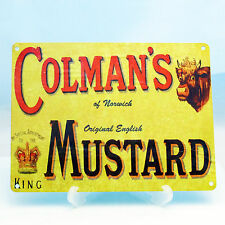 COLMAN'S ENGLISH MUSTARD VINTAGE RETRO FOOD BUTCHER SHOP METAL COLMANS SIGN A5