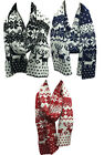 New Womens Unisex Xmas Reversible Reindeer Knitted Snow Flake Cosey Winter Scarf