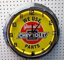 "17"" We Use Genuine CHEVROLET Parts Yellow Sign Neon Clock Chevelle Camaro Chevy"