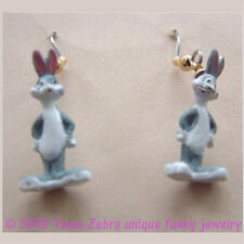 Funky BUGS BUNNY EARRINGS-Mini Figure Looney Tunes Novelty Charm Costume Jewelry
