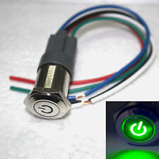 16mm Green 12V power symbol LED Latching On/Off Push Button Switch & socket plug