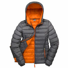Womens Padded Jacket Coat Quilted Puffer Hooded Bubble Neck Zip Down Winter