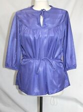 Azzardo - Vintage 80's - M/L - Purple Textured Striped Keyhole Tunic Tie Blouse