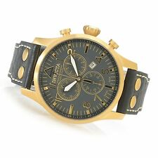 New Invicta Reserve 47mm Swiss Made Quartz Chronograph Leather Strap Watch 19752