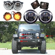 2X 7inch CREE LED Headlight Indicator Turn Light Fog Light for JK Jeep Wrangler
