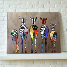 Unframed Print Picture On Canvas Wall Art Painting Abstract Multicolor Zebras