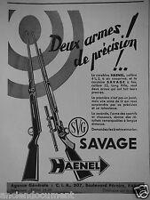 PUBLICITÉ 1937 SVG SAVAGE HAENEL DEUX ARMES DE PRÉCISION - ADVERTISING
