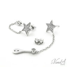 Sterling silver 925 CZ Micro pave dangle chain Star new fashion earrings E31