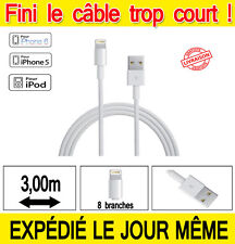 CHARGEUR IPHONE 6 6PLUS IPHONE 5S 5C CÂBLE USB DATA SYNCHRO EXTRA LONG 3 MÈTRES!