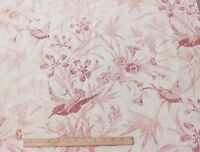 """Antique French Linen Time Worn Steel Engraved Bird&Floral Toile Fabric~1ydLX33""""W"""