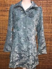 *VERTIGO PARIS* TEAL GREEN BROCADE TAPESTRY LONG DRESS COAT/JACKET -WOMEN'S M