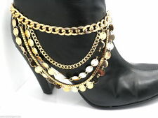 New Shoe Boot Jewelry Bracelet Women High Heel Chain Anklet Accessory Gold Disc