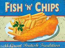 Vintage Style Retro Metal Wall Sign FISH and CHIPS Kitchen Tin Sign Mum Gift