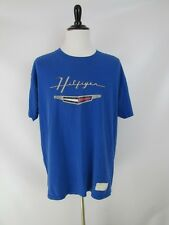 Vintage Tommy Hilfiger Royal Blue T-Shirt Size Large USA Made Tee Cool Logo !