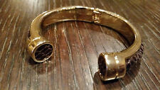 BANANA REPUBLIC BR Gold with Brown Bangle Bracelet -Spring Hinge BNWT