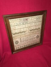 Beautiful Antique Needlework Sampler Philadelphia PA Dated 1836 Mary Webster