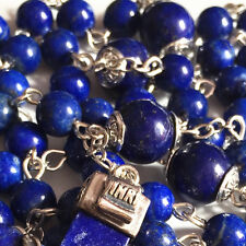 Sterling 925 Silver Lapis lazuli Beads CROSS CRUCIFIX Rosary CATHOLIC NECKLACE