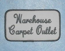 "Warehouse Carpet Outlet Patch - 4 1/4"" x 2 1/2""  - Vintage Truck Driver Delivery"