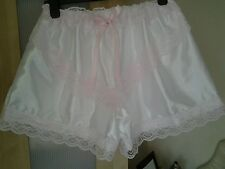 White Silky Satin French Knickers/Culottes/Boxer Shorts Sissy CD TV TG