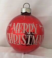 VTG Stencil Shiny Brite RED Stenciled MERRY CHRISTMAS  TRUMPET Angels Ornament