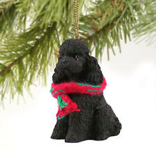 POODLE (BLACK) DOG CHRISTMAS ORNAMENT HOLIDAY XMAS Figurine Scarf Sportcut