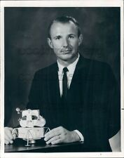 1969 Astronaut Vance Brand With Model of Lunar Spacecraft Press Photo