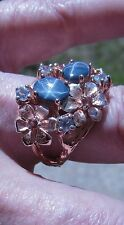 4.04 CTW BLUE STAR SAPPHIRE, GARNET, SAPPHIRE RING #8 ROSE GOLD/STERLING SILVER