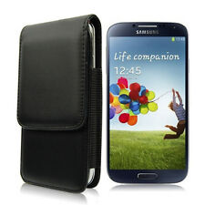 BLACK LEATHER VERTICAL BELT CLIP HOLSTER CASE COVER FOR SAMSUNG GALAXY S3 I9300