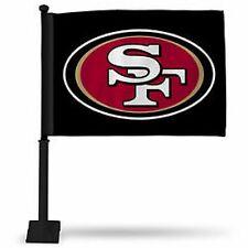 SAN FRANCISCO 49ERS BLACK CAR FLAG BLACK POLE DOUBLE SIDED
