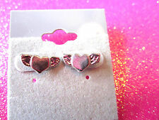 Mini Heart With Wings Stud Earrings 1/2 Inch