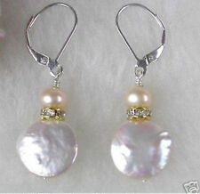 Exquisite Light Lavender Coin Freshwater Pearl Silver Hook Dangle Earrings