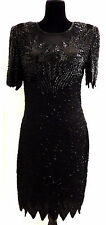 DENISE ELLE Vintage Black 100% Silk Sequin Cocktail Evening Dress Size Large