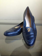 bagsclothesetc: USED Authentic FERRAGAMO NavyBlue Leather Loafers Shoes 9 1/2 A3