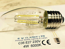 3 PACK OF LED E27 CANDLE FILAMENT LAMP 4W C35 6000K DAYLIGHT OUTPUT