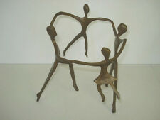 Vintage BRONZE CASTING OR SCULPTURE OF FAMILY CIRCLE BOY AND GIRL