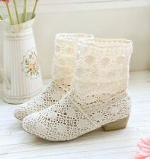 Summer Women Block Heel Hollow Out Breathable Knitted Mid Calf Boots Roman Shoe