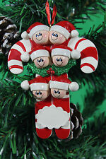 PERSONALISED CHRISTMAS TREE DECORATION ORNAMENT CANDY CANE FAMILY OF 6