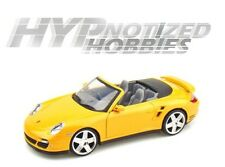 MOTOR MAX 1:24 PORSCHE 911 TURBO CONVERTIBLE DIE-CAST YELLOW 73348