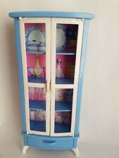 Vintage 1998 Barbie Mattel Blue China Cabinet Dining Room Kitchen Furniture