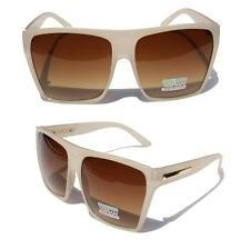 Large Retro Style Square Beige Brown Traperzoid Flat Top Sunglasses Celebrity